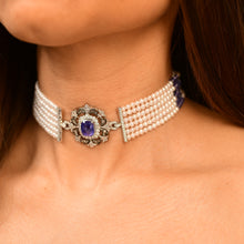 Load image into Gallery viewer, Vintage Tanzanite and Pearl Choker