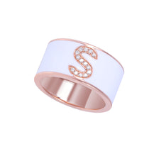 Load image into Gallery viewer, Personalised Enamel Initial Diamond Ring