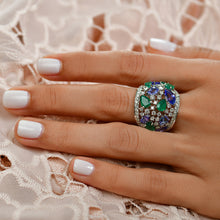 Load image into Gallery viewer, Tanzanite, Emerald and Diamond Ring
