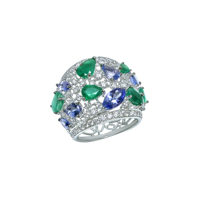 Tanzanite, Emerald and Diamond Ring