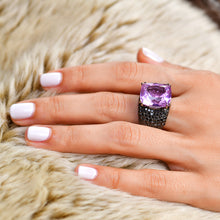 Load image into Gallery viewer, Kunzite and Black Diamond Ring
