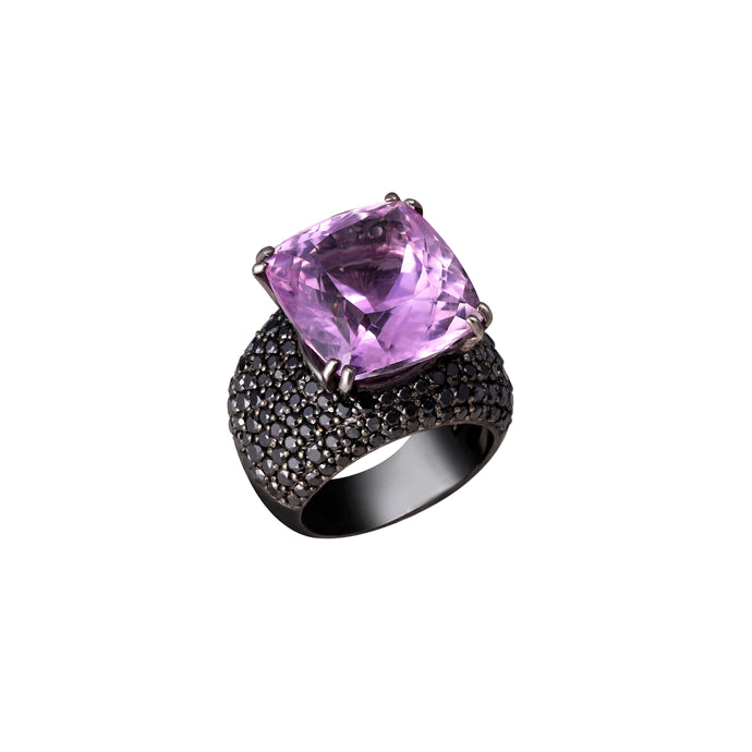 Kunzite and Black Diamond Ring