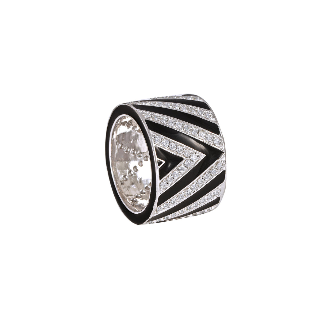 Black Enamel and Diamond Ring