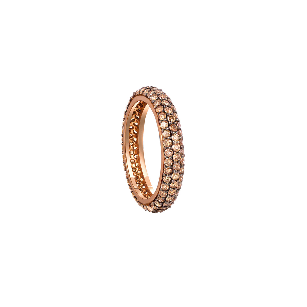Coffee Diamond Stackable Classic Midi Ring