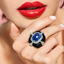 Load image into Gallery viewer, Tanzanite and Black Enamel Ring