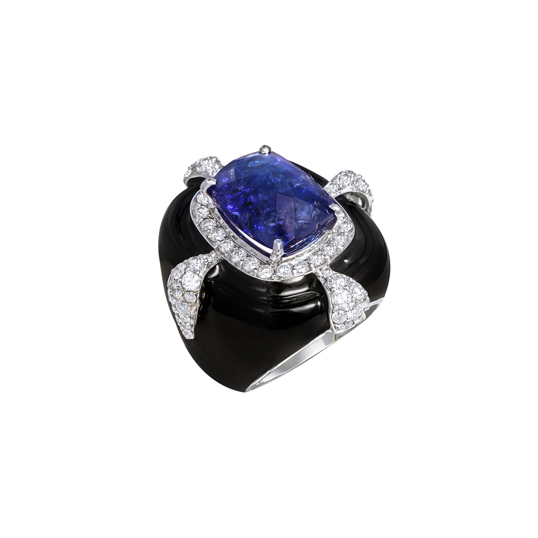 Tanzanite and Black Enamel Ring