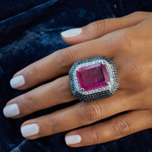 Load image into Gallery viewer, Rubellite and Black Diamond Ring