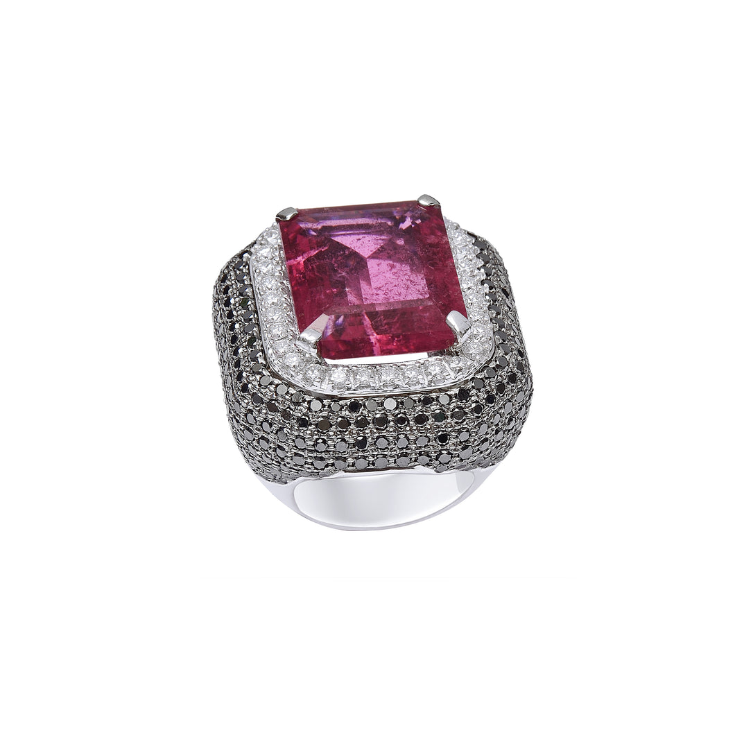 Rubellite and Black Diamond Ring