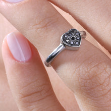 Load image into Gallery viewer, Heart Black Diamond Midi Ring