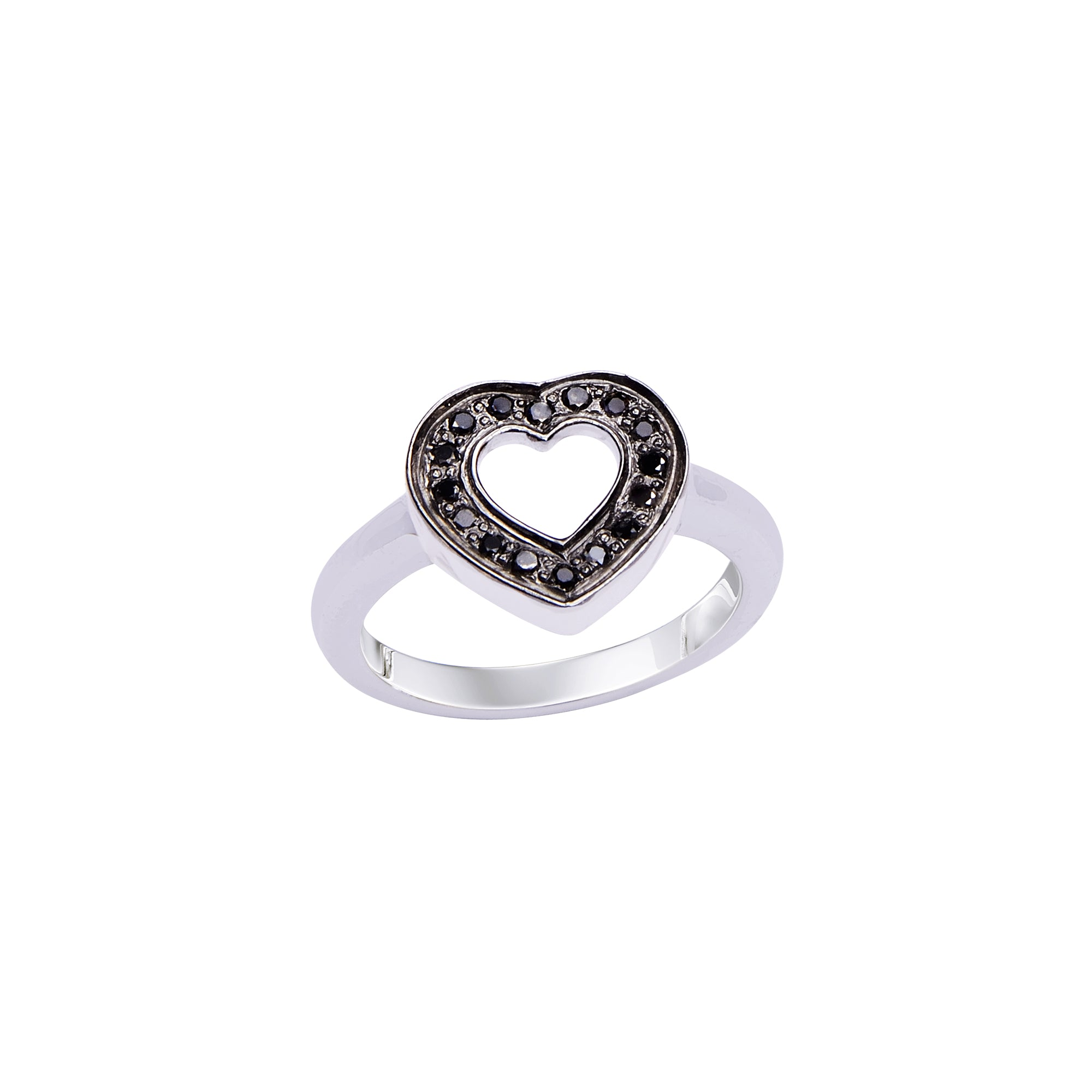 Heart Black Diamond Ring