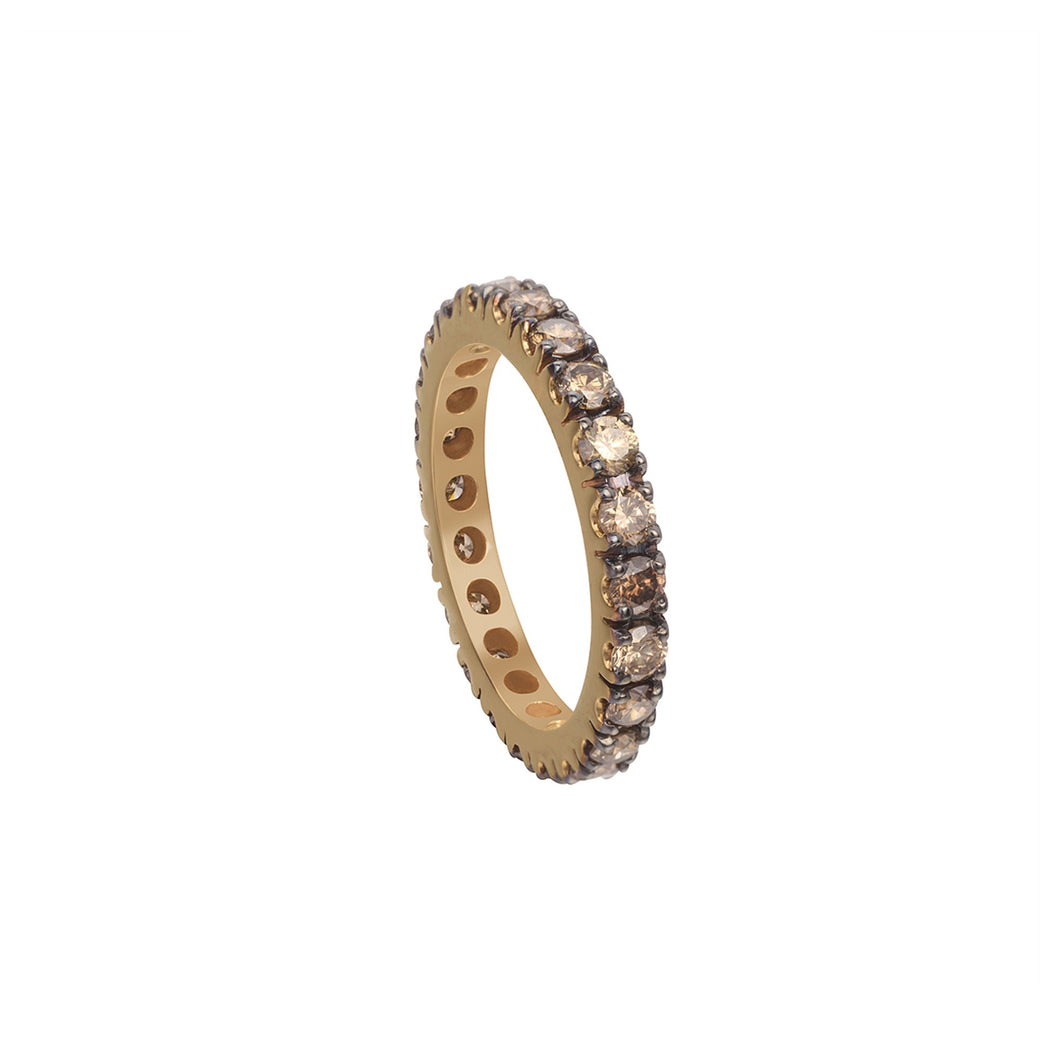 Coffee Diamond Stackable Eternity Midi Ring