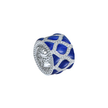 Load image into Gallery viewer, Blue Enamel and Diamond Ring