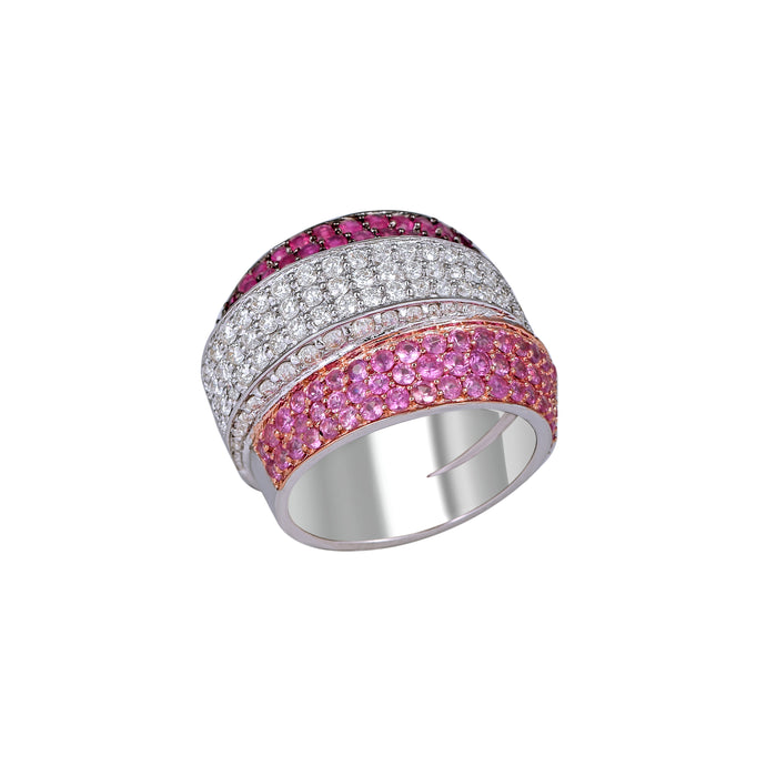 Ruby, Pink Sapphire and White Diamond Ring