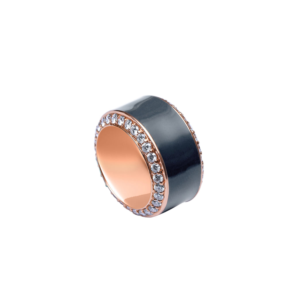Grey Enamel and Diamond Ring