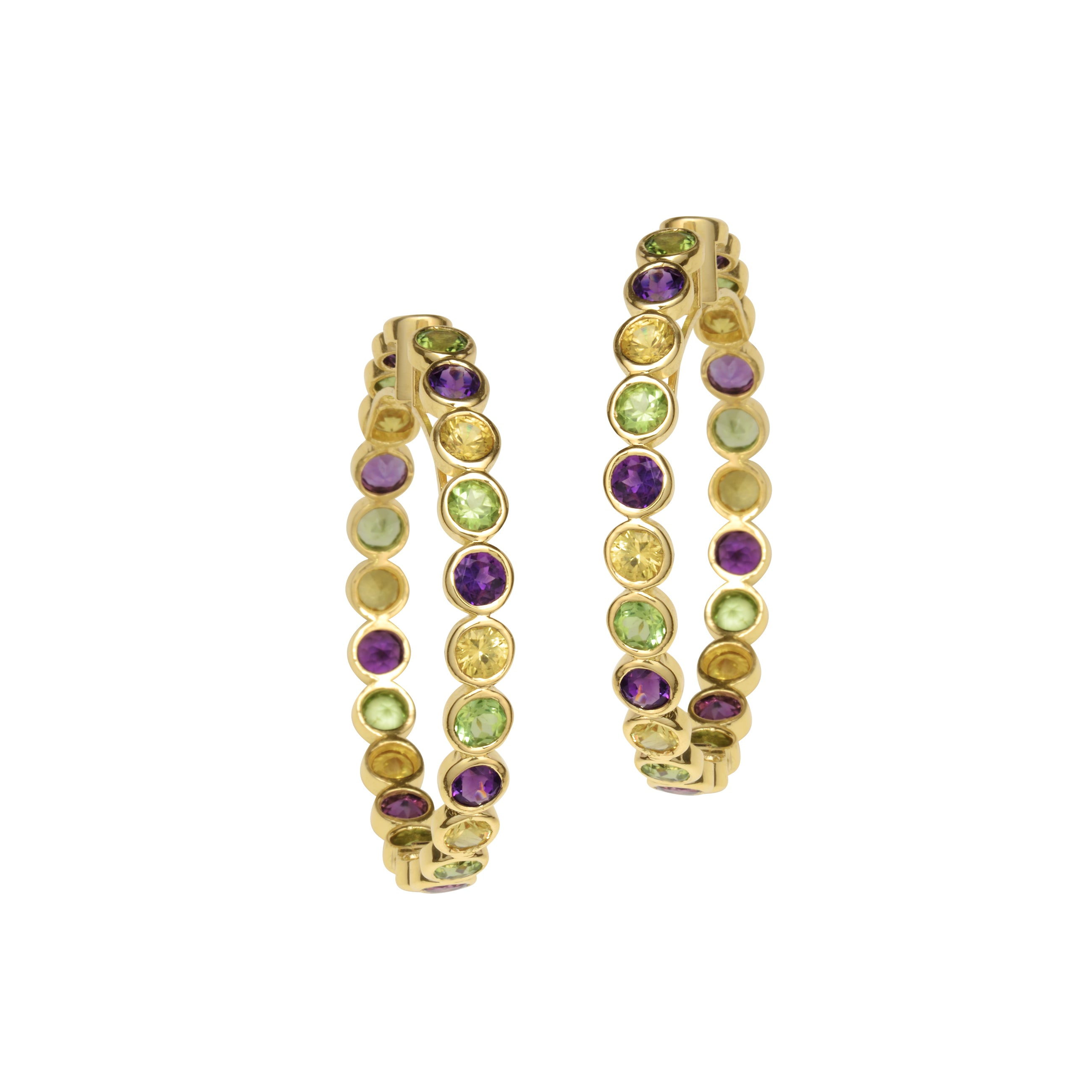 Citrine, Amethyst and Peridot Hoops