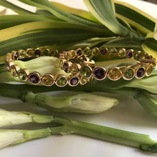 Load image into Gallery viewer, Citrine, Amethyst and Peridot Hoops