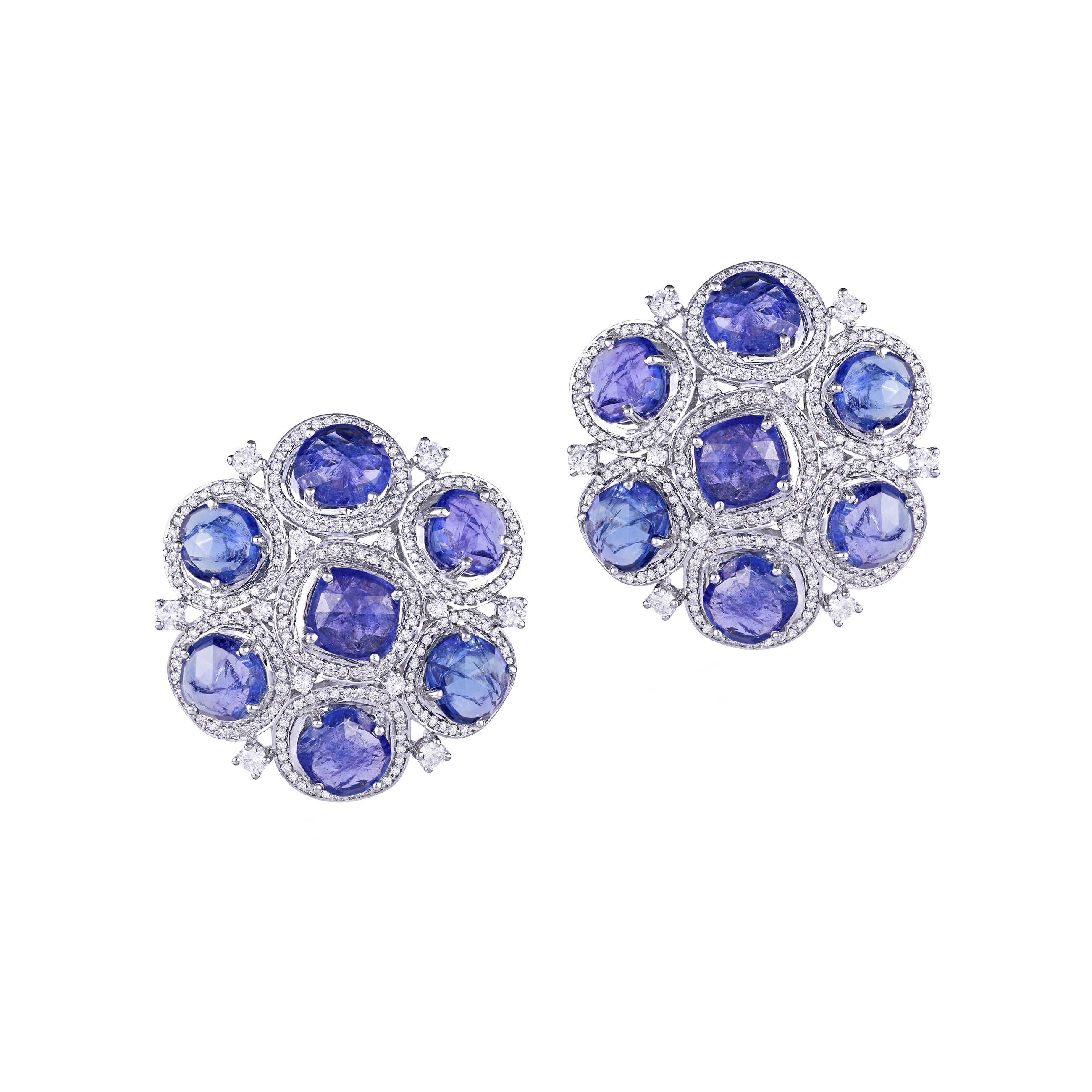 Tanzanite and Diamond Studs