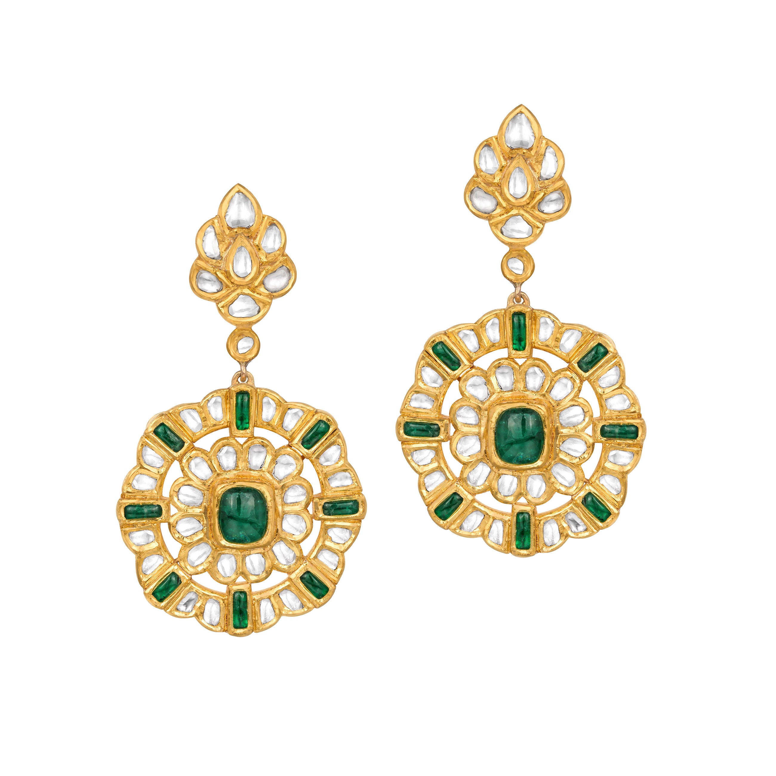 Uncut Diamond and Emerald Earrings
