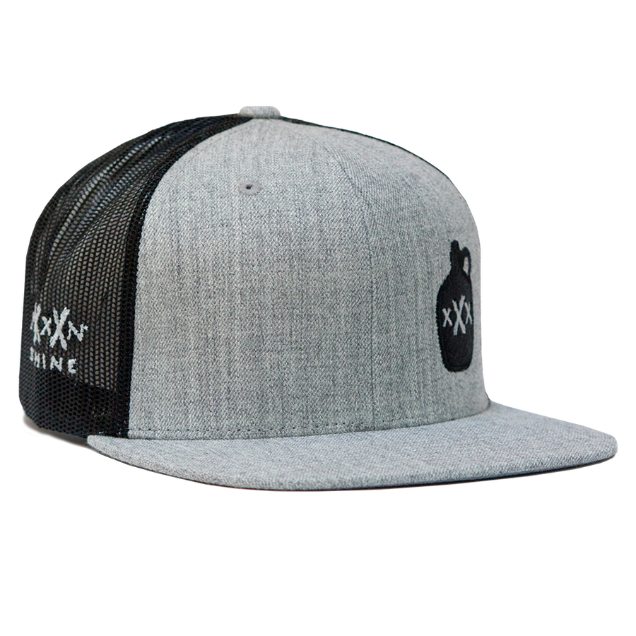 Moonshine Jug Snapback - Heather Grey/Black Mesh - Moonshine Mfg