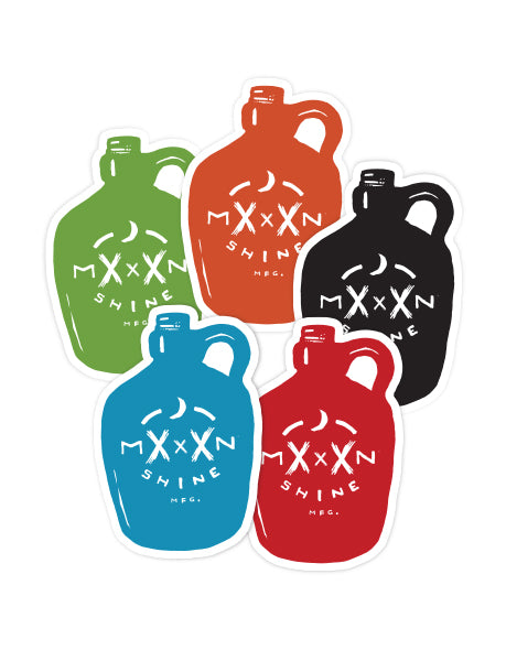Moonshine Jug Sticker - Assorted Colors - Moonshine Mfg