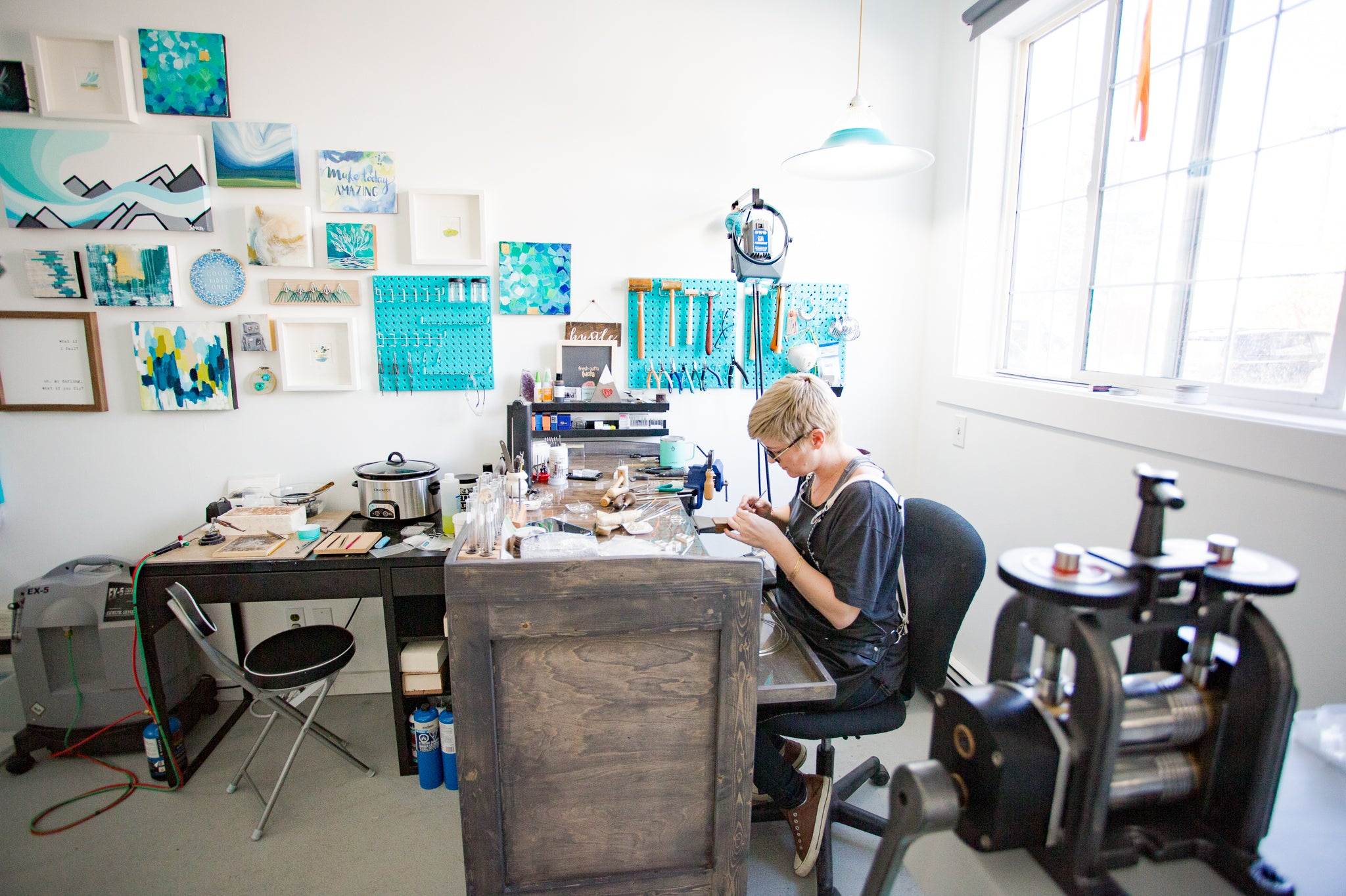 Rachael working in her studio
