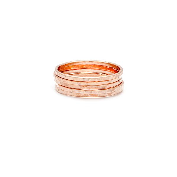 Simple Stackers - Rose Gold Filled Hammered