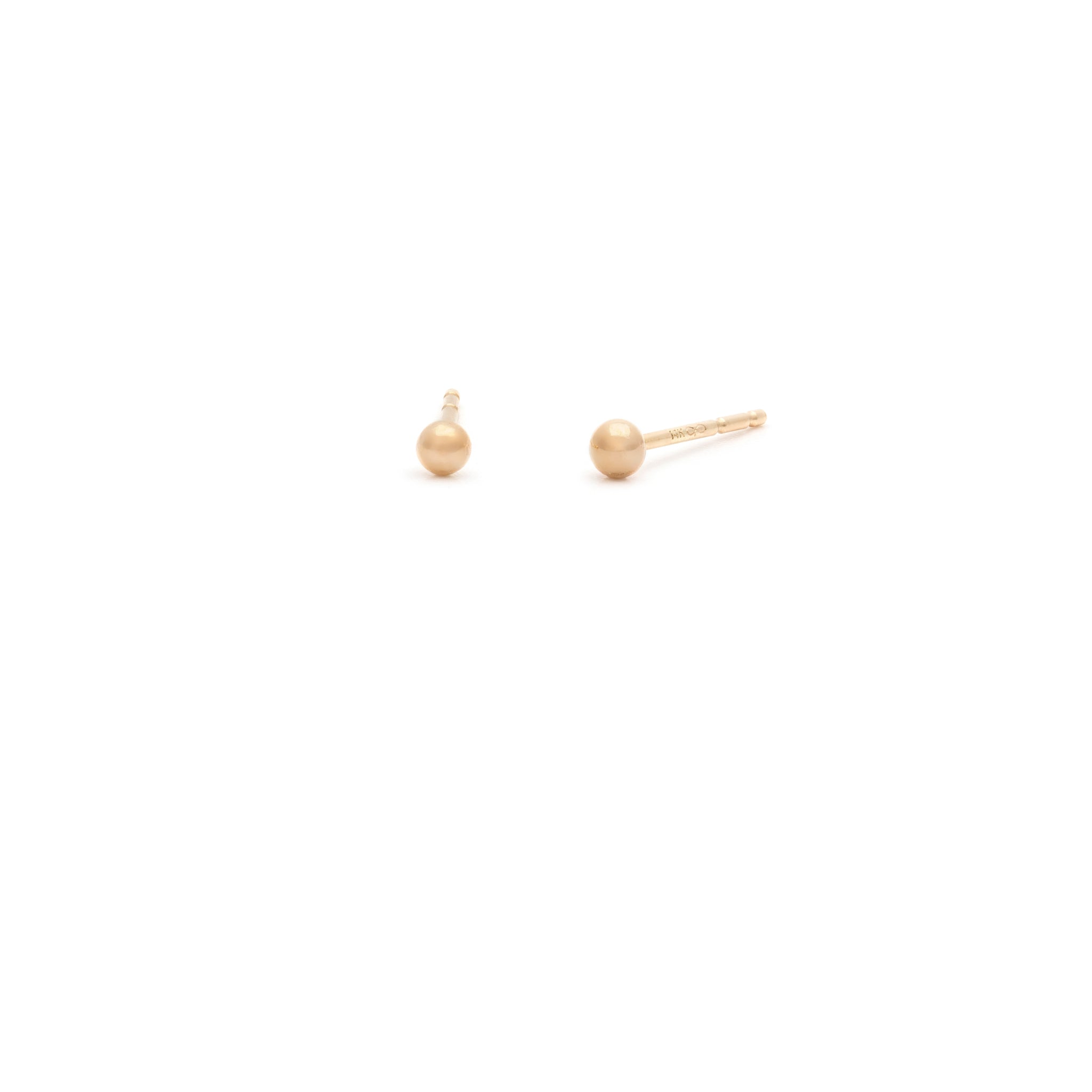 14k Gold Tiny Ball Studs