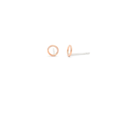 Tiny Rose Gold Circle Studs