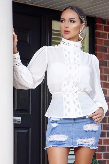 Lattice Detail Puff Sleeve High Neck Blouse - MISS REBELLIOUS