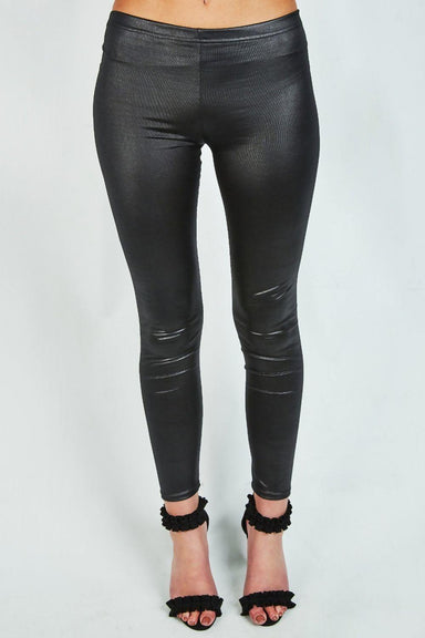 Black Classic PU Coated Skinny Leggings - MISS REBELLIOUS