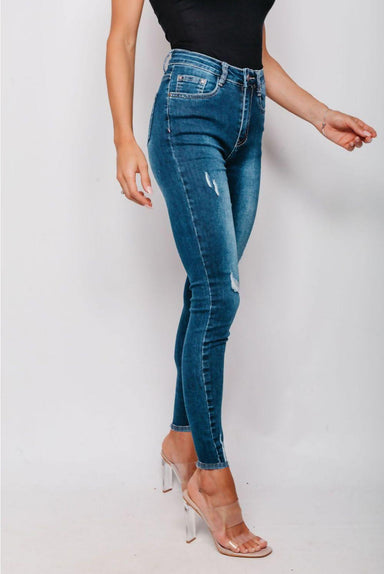 Dark Denim Skinny Fit Distressed Jeans - MISS REBELLIOUS