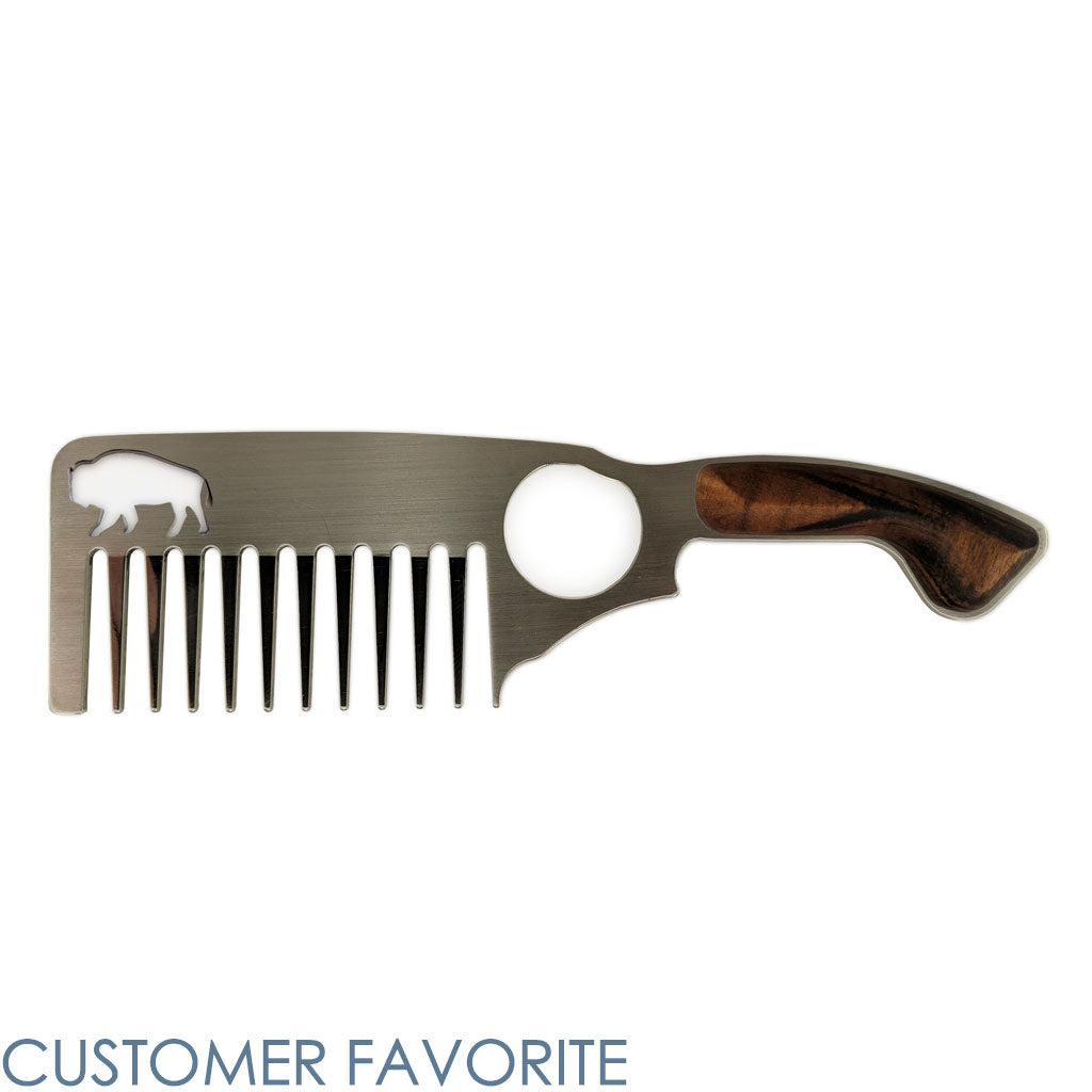 A Bisson Stainless Steel Beard Comb Number 3 for thick beards and a customer favorite.