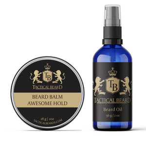 a bottle and container of beard product combos set