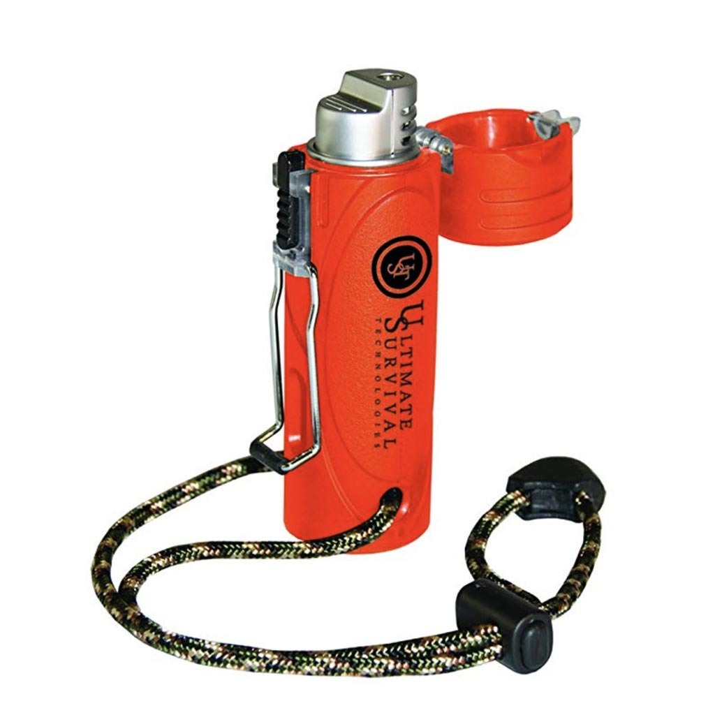 A survival lighter in bright orange for fire starters