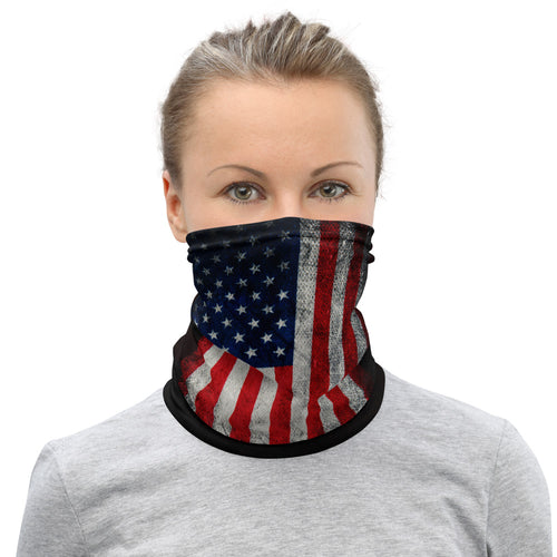 Girl wearing an American Flag beard gaiter