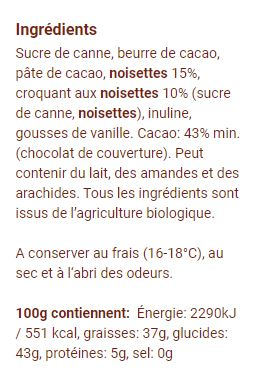 Swiss dark chocolate organic vegan hazelnut nectar 100 gr