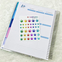 CLEAR KALEIDOSCOPE FOILED  Realistic-Style Pot Leaf Stickers (*updated colors - Feb 2021*)