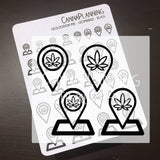 Pot Leaf Geolocation Stickers, Marijuana Design, 420 Planner, Cannabis Art, Weed Stickers, Erin Condren, Travel, Adventure