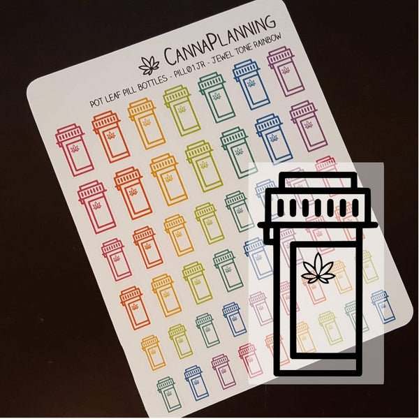 Pot Leaf Pill Bottle Stickers, Medical Marijuana Design, 420 Planner, Cannabis Art, Weed Stickers, Erin Condren