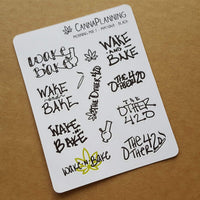 """Morning Mix"" Hand-lettered Marijuana Stickers - CannaPlanning  - Hand Lettering, Non-Holiday, Stickers"