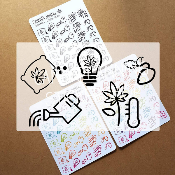 Cannabis Grow Mix Stickers: Gardening & Planting, Fertilizer, Temperature, Watering Can - CannaPlanning  - Icons, Stickers