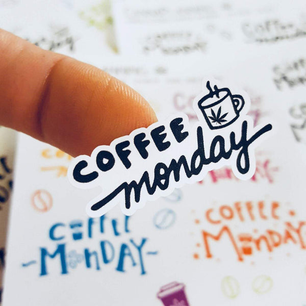 """Coffee Monday"" Hand-lettered cannabis planner stickers - CannaPlanning  - Coffee, Hand Lettering, Non-Holiday, Stickers"