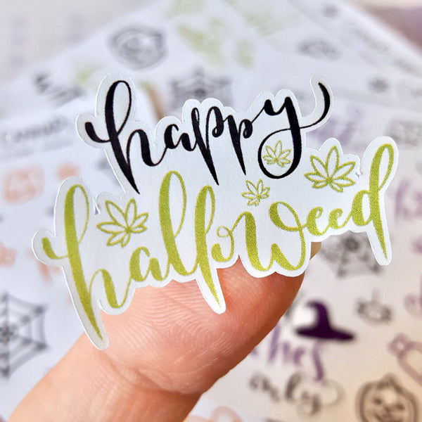 Happy Halloweed Marijuana Deco and Hand-lettered Halloween Stickers