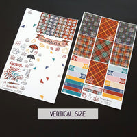 Marijuana Autumn Themed Sticker Kit - Style 1 - Red and Blue autumn plaids - 2 page weekly sticker kit, 420 Blunt, Planner, Journal Design