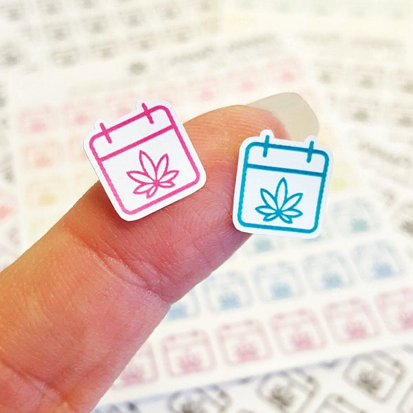 Itty Bitty Pot Leaf Calendar Icon Stickers