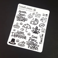 Thanksgiving Marijuana Deco and Hand-lettered stickers