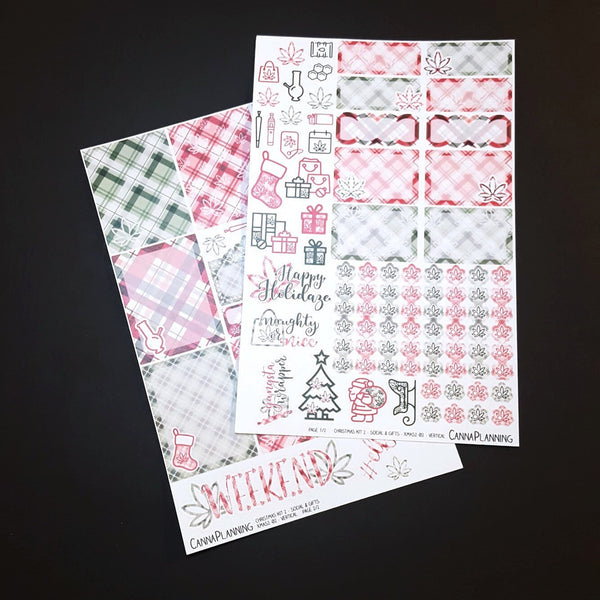 GIFTS N SOCIAL - Red & Green - Marijuana Christmas Sticker Kit - base 2-page kit