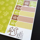 Thanksgiving Marijuana Sticker Kit WASHI Page - green and brown