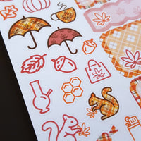 Marijuana Autumn Themed Sticker Kit - Style 2 - Orange and Maroon Plaids - 2 page weekly sticker kit, Autumn Leaves, 420 Weed Design