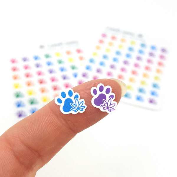 Marijuana Paw Print Stickers, Pet Dog & Cat, Puppy, Cannabis Design, 420 Art, Marijuana, Weed